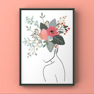 Contemporary modern women with flower abstract art